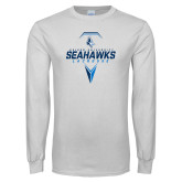 White Long Sleeve T Shirt-Seahawks Lacrosse Geometric