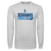 White Long Sleeve T Shirt-Seahawks Track and Field Stacked