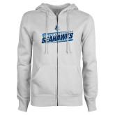 ENZA Ladies White Fleece Full Zip Hoodie-Keiser University Seahawks Slanted Stencil