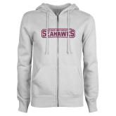 ENZA Ladies White Fleece Full Zip Hoodie-Keiser University Seahawks Pink Glitter