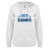 ENZA Ladies White V Notch Raw Edge Fleece Hoodie-Seahawks Basketball Half Ball