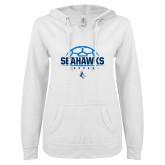 ENZA Ladies White V Notch Raw Edge Fleece Hoodie-Seahawks Soccer Half Ball