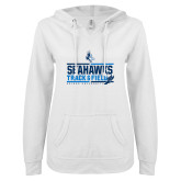 ENZA Ladies White V Notch Raw Edge Fleece Hoodie-Seahawks Track and Field Stacked