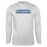 Performance White Longsleeve Shirt-Keiser University Seahawks
