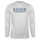 Syntrel Performance White Longsleeve Shirt-University Wordmark