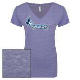 ENZA Ladies Surfer Blue Melange V Neck Tee-Primary Logo