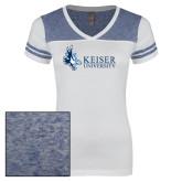 Ladies White/Heathered Royal Juniors Varsity V Neck Tee-Institutional Logo