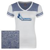 Ladies White/Heathered Royal Juniors Varsity V Neck Tee-Primary Logo