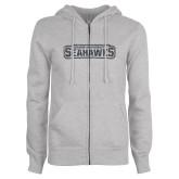 ENZA Ladies Grey Fleece Full Zip Hoodie-Keiser University Seahawks Graphite Glitter