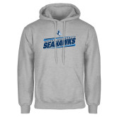 Grey Fleece Hoodie-Keiser University Seahawks Slanted Stencil