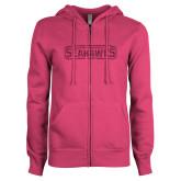 ENZA Ladies Fuchsia Fleece Full Zip Hoodie-Keiser University Seahawks Hot Pink Glitter