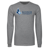 Grey Long Sleeve T Shirt-Institutional Logo