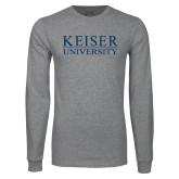 Grey Long Sleeve T Shirt-University Wordmark