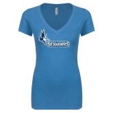 Next Level Ladies Vintage Turquoise Tri Blend V Neck Tee-Primary Logo