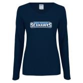 Ladies Navy Long Sleeve V Neck Tee-Keiser University Seahawks