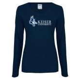 Ladies Navy Long Sleeve V Neck T Shirt-Institutional Logo
