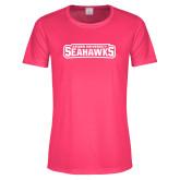 Ladies Performance Hot Pink Tee-Keiser University Seahawks