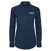 Ladies Navy Twill Button Down Long Sleeve-Keiser University Seahawks