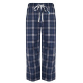Navy/White Flannel Pajama Pant-Institutional Logo