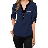 Ladies Posh Navy 3/4 Sleeve Blouse-Keiser University Seahawks