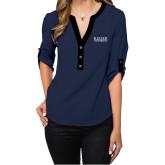 Ladies Posh Navy 3/4 Sleeve Blouse-University Wordmark