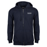 Navy Fleece Full Zip Hoodie-University Wordmark