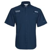 Columbia Tamiami Performance Navy Short Sleeve Shirt-University Wordmark