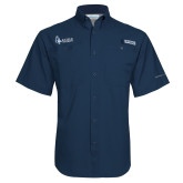 Columbia Tamiami Performance Navy Short Sleeve Shirt-Institutional Logo