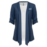 Ladies Navy Drape Front Cardigan-Keiser University Seahawks