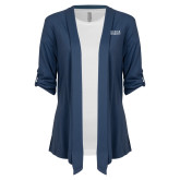 Ladies Navy Drape Front Cardigan-University Wordmark