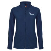 Ladies Fleece Full Zip Navy Jacket-Primary Logo