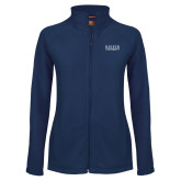 Ladies Fleece Full Zip Navy Jacket-University Wordmark