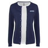 Ladies Navy Cardigan-Keiser University Seahawks