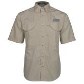 Khaki Short Sleeve Performance Fishing Shirt-University Wordmark