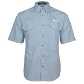 Light Blue Short Sleeve Performance Fishing Shirt-University Wordmark