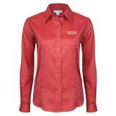Ladies Red House Red Long Sleeve Shirt-University Wordmark