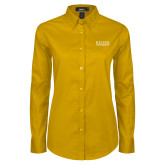 Ladies Gold Twill Button Down Long Sleeve-University Wordmark