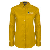 Ladies Gold Twill Button Down Long Sleeve-Institutional Logo