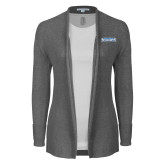 Ladies Heather Grey Open Front Cardigan-Keiser University Seahawks