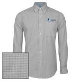 Mens Charcoal Plaid Pattern Long Sleeve Shirt-Institutional Logo