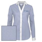 Ladies Red House Diamond Dobby Blue/White Long Sleeve Shirt-Institutional Logo