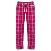 Ladies Dark Fuchsia/White Flannel Pajama Pant-Keiser University Seahawks