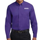 Purple Twill Button Down Long Sleeve-Keiser University Seahawks