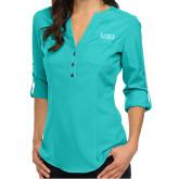 Ladies Glam Turquoise 3/4 Sleeve Blouse-University Wordmark