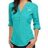 Ladies Glam Turquoise 3/4 Sleeve Blouse-Institutional Logo