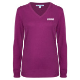 Ladies Deep Berry V Neck Sweater-Keiser University Seahawks