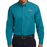 Teal Green Twill Button Down Long Sleeve-Primary Logo