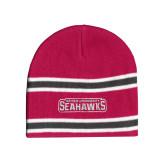Pink/Charcoal/White Striped Knit Beanie-Keiser University Seahawks