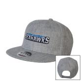 Heather Grey Wool Blend Flat Bill Snapback Hat-Keiser University Seahawks