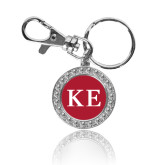 Crystal Studded Round Key Chain-One Color Greek Letters